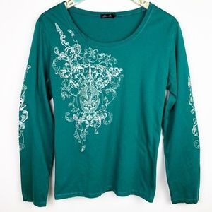 Seven 7 Graphic Print Long Sleeve Top - Teal